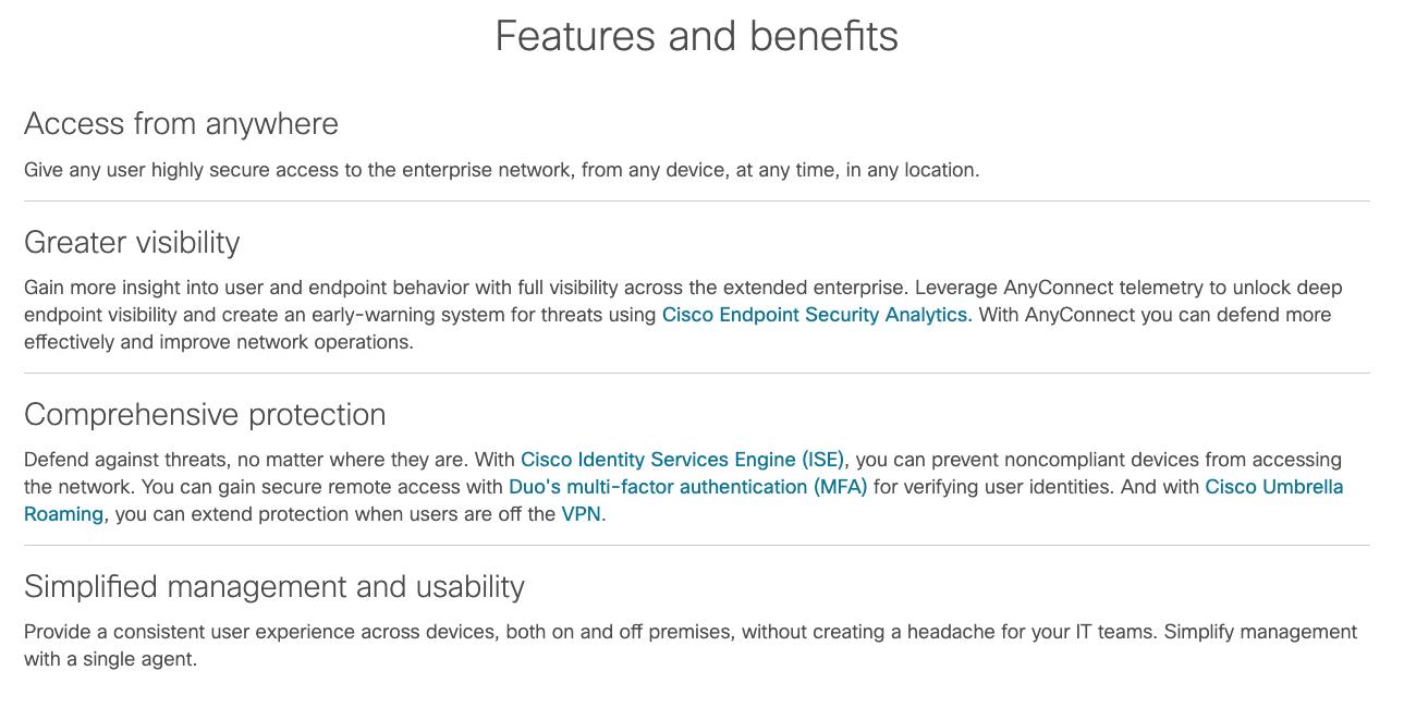 Caracteristicas principales de Cisco VPN