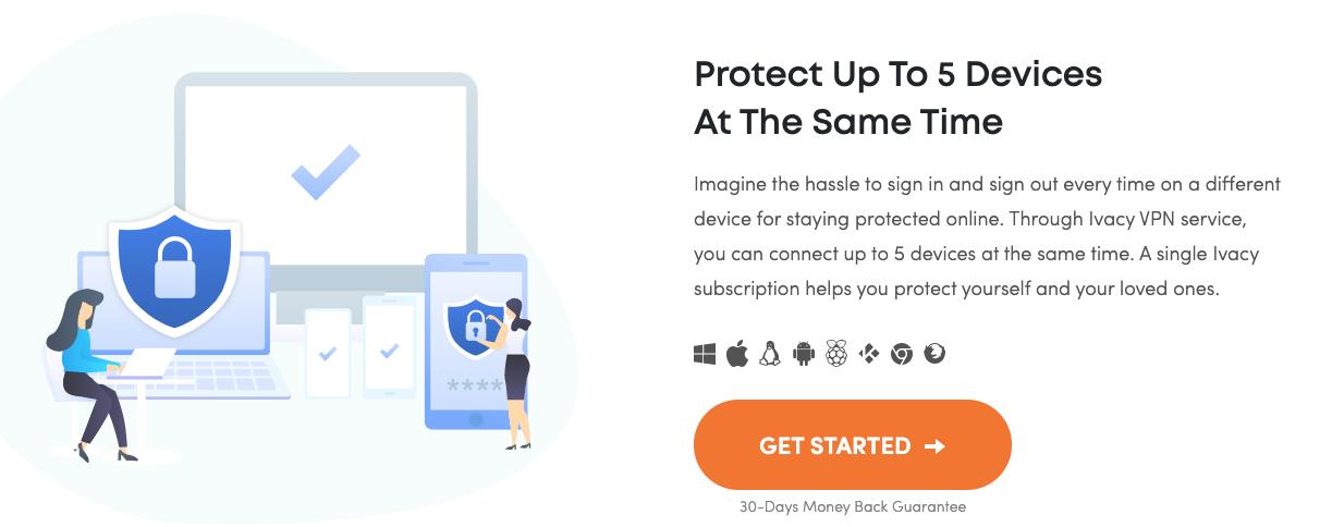 En Ivacy VPN te puedes conectar a 5 dispositivos al mismo tiempo