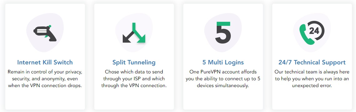 PureVPN features security