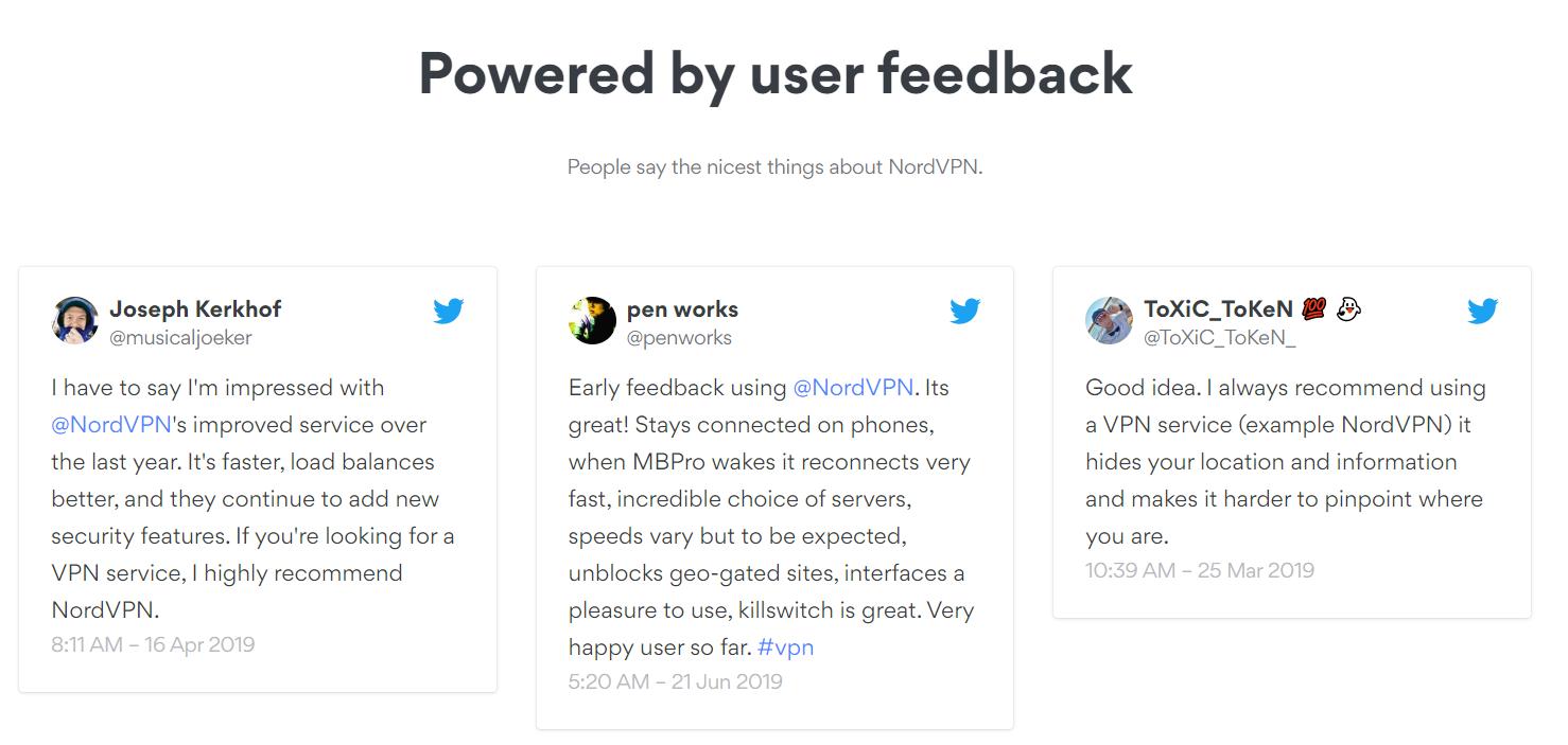Las personas dicen las mejores cosas sobre Nord VPN