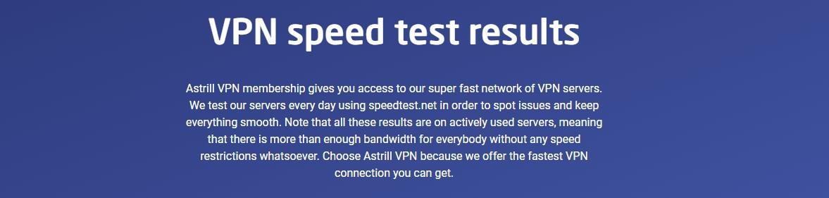 La velocidad que os ofrece Astrill VPN es bastante eficiente