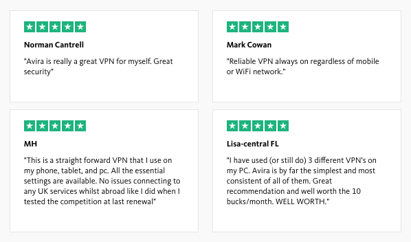 Avira user reviews Phantom VPN