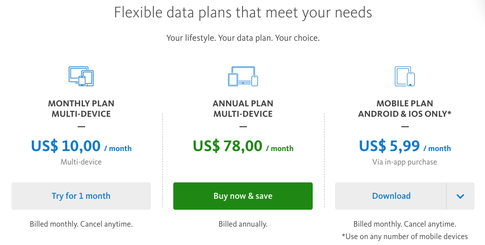 Prices and plans Avira Phantom VPN