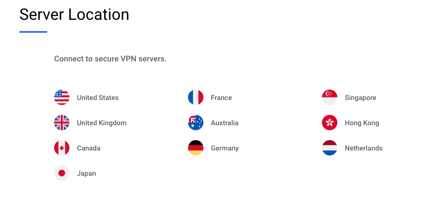 Betternet Spanish VPN server, has 50 servers in more than 10 countries.