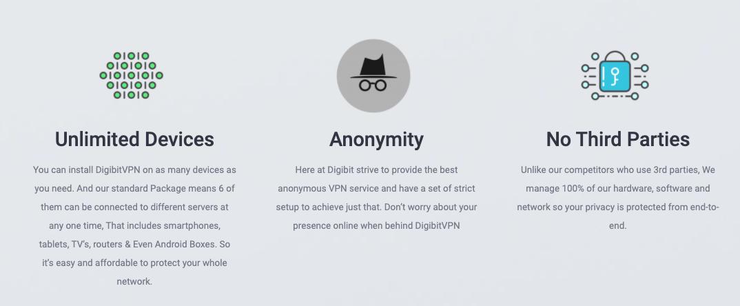 Avec VPN Digibit peut se connecter à 6 appareils différents en même