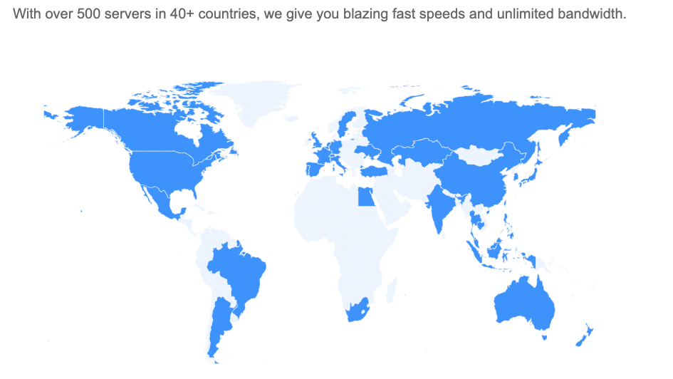 500 servers in over 40 countries