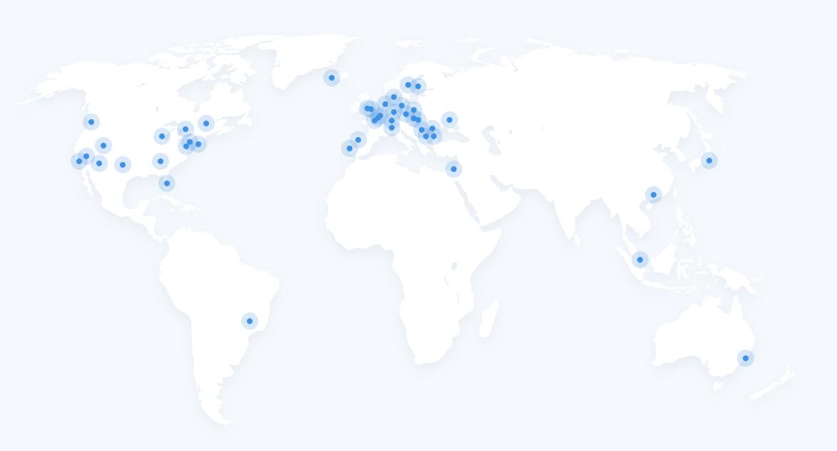 Servidores de IVPN ubicados en distintos lugares