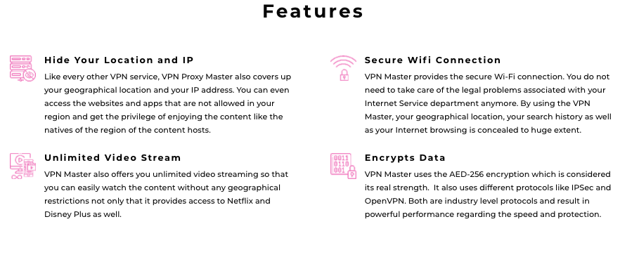 Key features of VPN Proxy Master