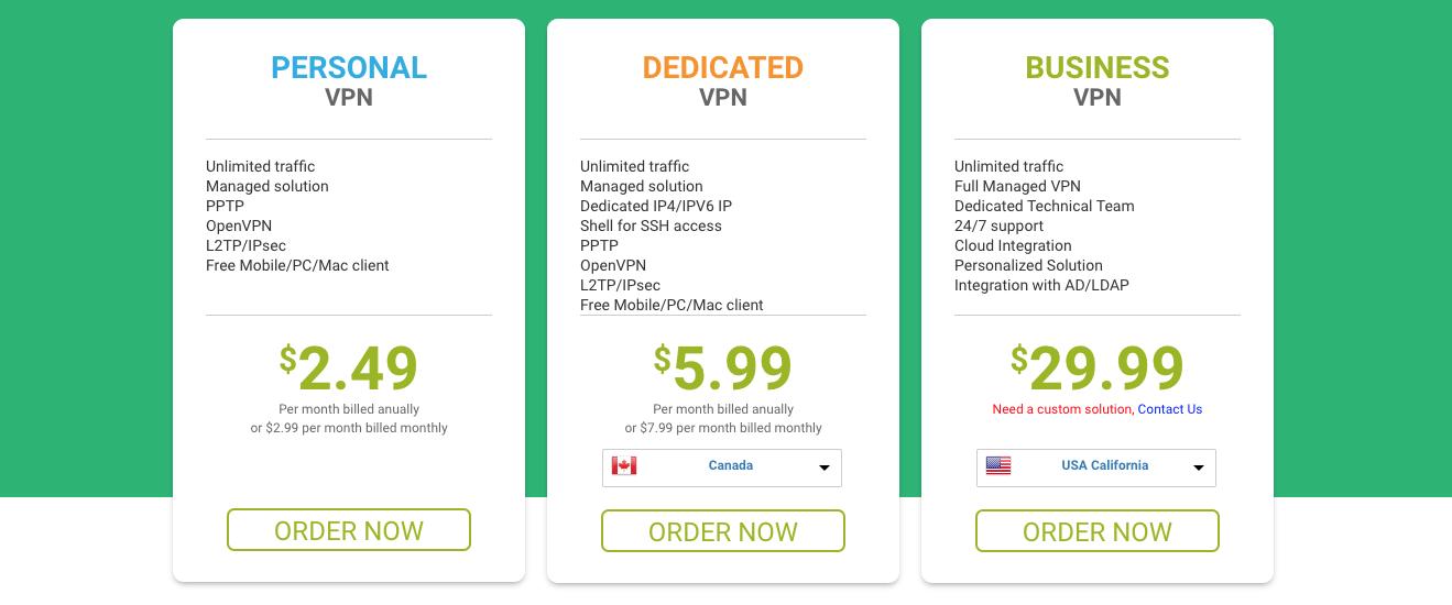 al descargar e instalar Myip VPN podrás seleccionar cualquiera de los planes