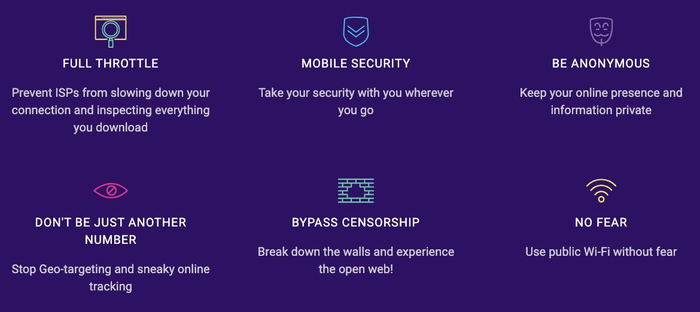 caracteristicas principales de VPNSecure