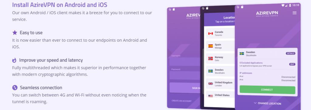 Podrás utilizar Azire VPN en tu móvil.