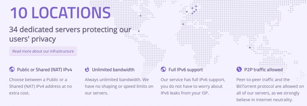 Azire VPn te permite conectar a muchos países