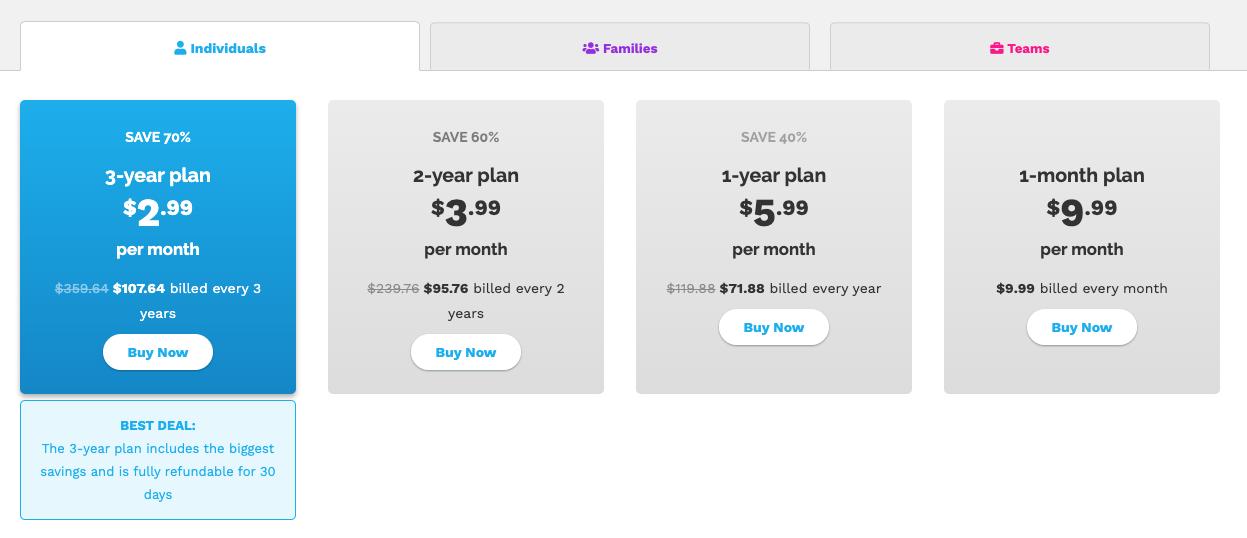 precio de los diferentes planes que ofrece Speedify VPN